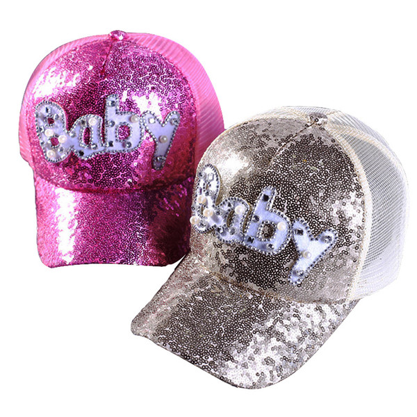 New summer fashion pearl sequin baseball cap baby and W diamond letter breathable sunshade cap high quality Snapback Hat