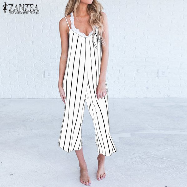 2018 Plus Size ZANZEA Blackless Wide Leg Overalls Romper Summer Sexy Straps Sleeveless Deep V Neck Striped Party Loose Jumpsuits