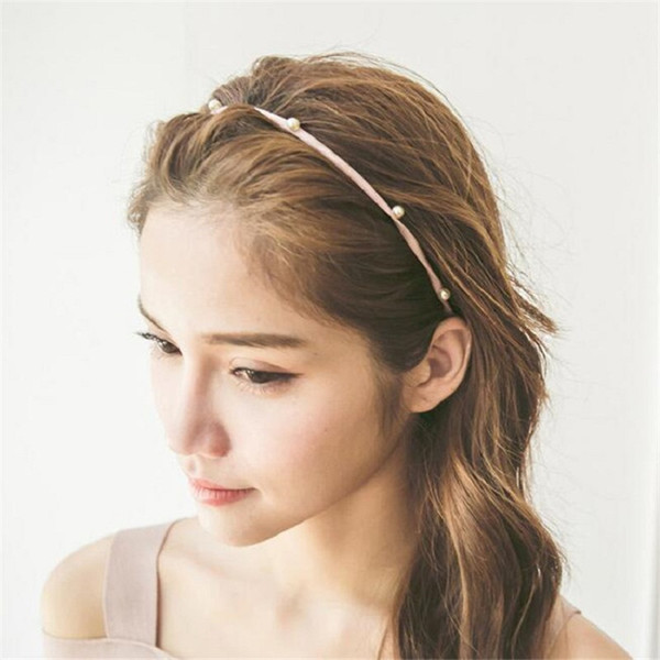 2019 Rivet Imitation Pearl Headband Color Simple Alloy Beads Cloth Hair Band Geometric Stretch Hair Rope 2018 Women Fashion Jewelry Wholesale From
