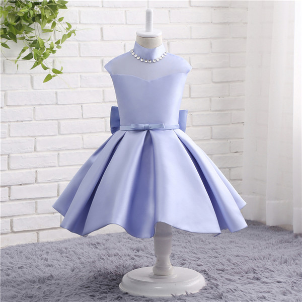 MAGGIEISAMAZING Wholesale high collar back zipper lace Exposed Boning Kids' Dresses Girl's Pageant Dresses with tea length CYH0000TZ009