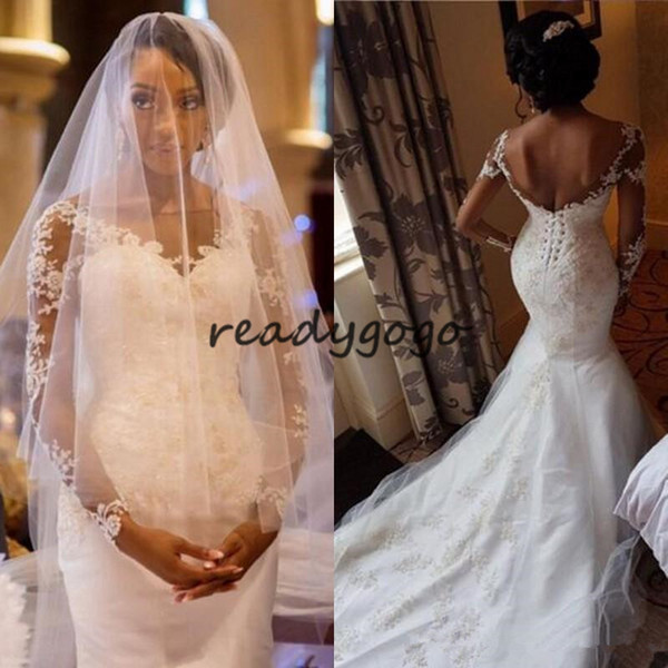 Modest Mermaid Wedding Dresses with Long Sleeves Sheer Bateau Neck Backless Lace Appliques Bridal Gowns with Corset Back Sweep Train