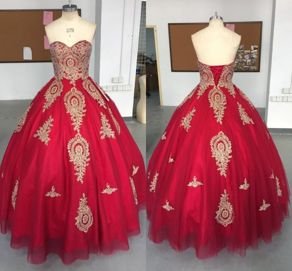 100% Real Image Gold Appliqued Red Quinceanera Dresses Corset Backless Sweetheart Puffy Long Prom Evening Gowns BA9370