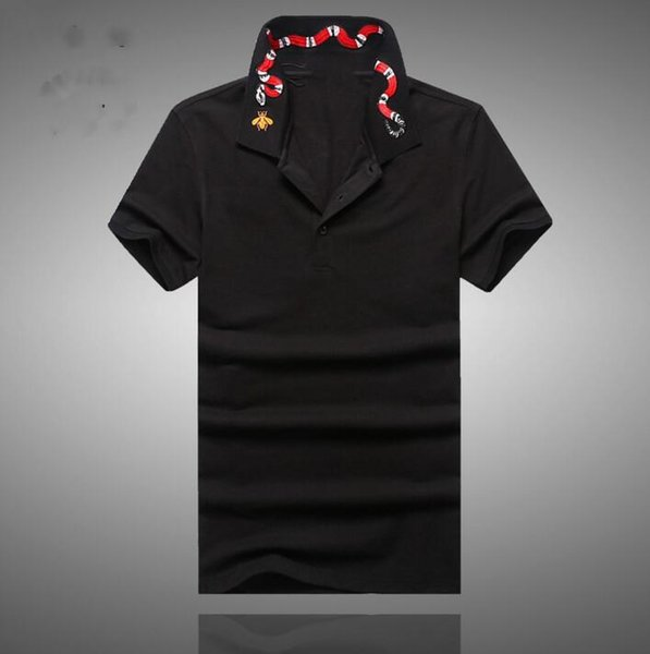 High New Novelty 2018 Men collar Embroidered Red Snake Fashion Polo Shirts Shirt Hip Hop Skateboard Cotton Polos Top Tee #B95