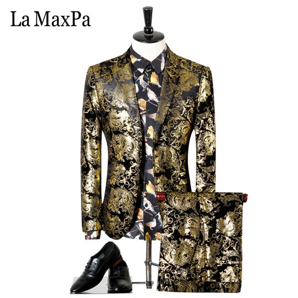 La MaxPa (jacket+pants) Fashion brand male singer men suit spring casual suit slim fit groom party wedding gold stamping