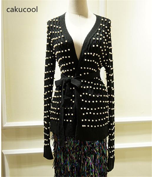 Cakucool New Winter Clothes Women Pearl Beading Sweater Women Sashes Belt Cardigan Slim Knit Coat Black white Jersey Mujer Femme
