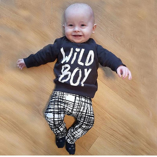 hotsale in China INS spring and autumn boy Long sleeve letters jacket full print long pants Cotton children's suit