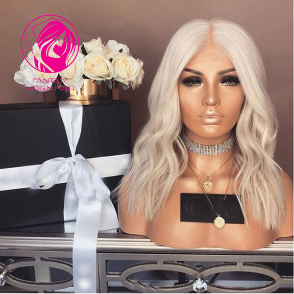 Fantasy Platinum Blonde Brazilian Human Hair Full Lace Wigs with Baby Hair Pre Plucked Virgin Hair Transparent Lace Wig