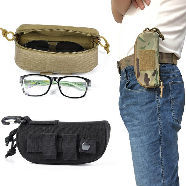 Tactical Molle Zipper Eyeglasses Case 1000D Nylon Anti-Shock Hard Clamshell Eyewear Carry sunglasses pouch bag with POM Clip
