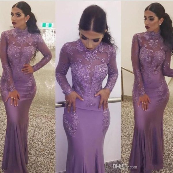 2018 Lavender High Neck Lace Appliques Mermaid Evening Dresses Illusion Chiffon Beaded Sheath T-shirt Long sleeves Plus Size Formal Gowns