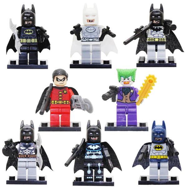 Avenger Mini Super Hero Batman Armor Rainbow Blue Gray White Robin Joker Harley Quinn Toy Figure Building Block Toy for Children