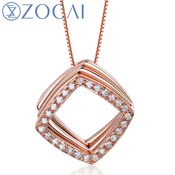 ZOCAI 18K Rose Gold Necklace 0.15 Ct Certified Diamond Pendant with 925 Silver Chain as Gift JBD90218T