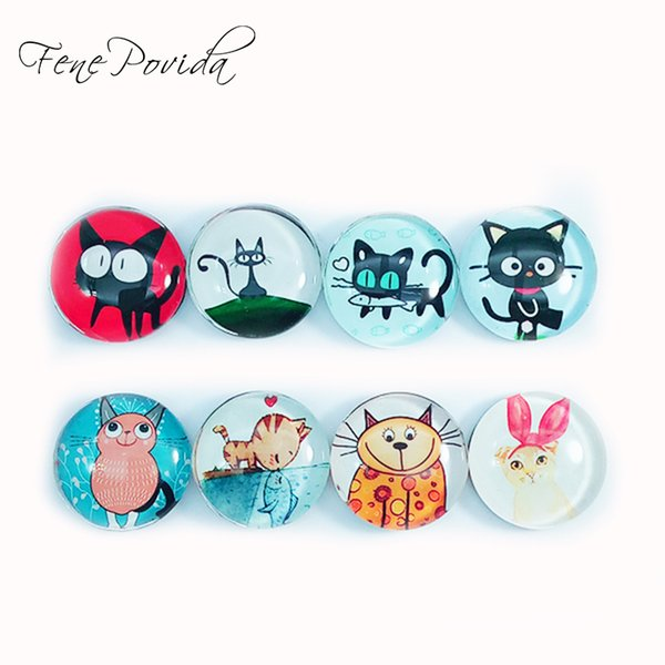 1pcs 25mm Cute Small Animal Cat Fridge Magnets Artistic Vivid Crystal Glass Refrigerator Magnetic Sticker Home Decoration D074
