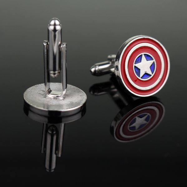 Superheroes Jewelry The Avengers Captain America Shield Cufflinks for Men's Shirt High Quality Cuff Buttons Metal Cuff Links pin