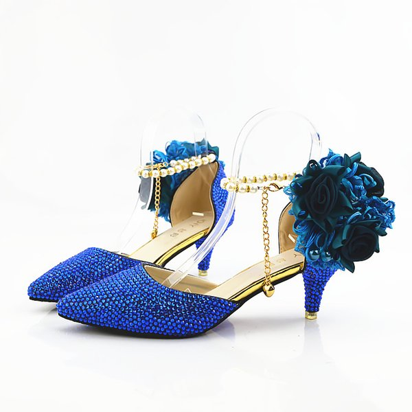 Royal blue Beaded Shiny high heels lady's shoes Women sandals Bridal Evening Prom Party club Bridesmaid shoes with pearl straps and flowers