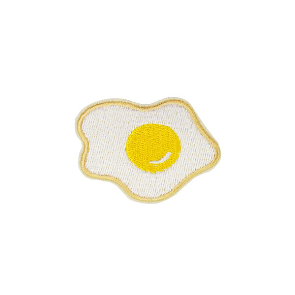 Diy Delicious Fried Eggs Patches for Clothing Iron on Stripe Embroidered Applique Cute Patch for Fabrics Badges Garment Accessories Patches