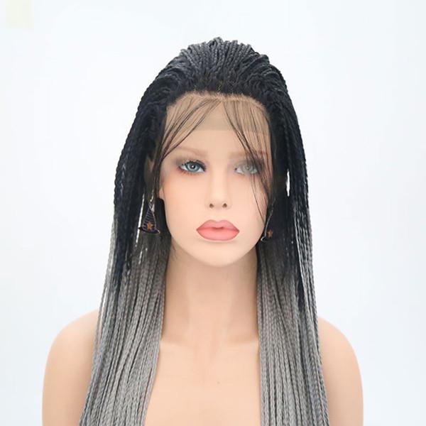 Perruques synthétiques tressées Synthétique Dark Roots Ombre Gris Résistant à la chaleur pour les femmes Sans colle Synthétique Perruque en dentelle avant de tresse avec des cheveux de bébé