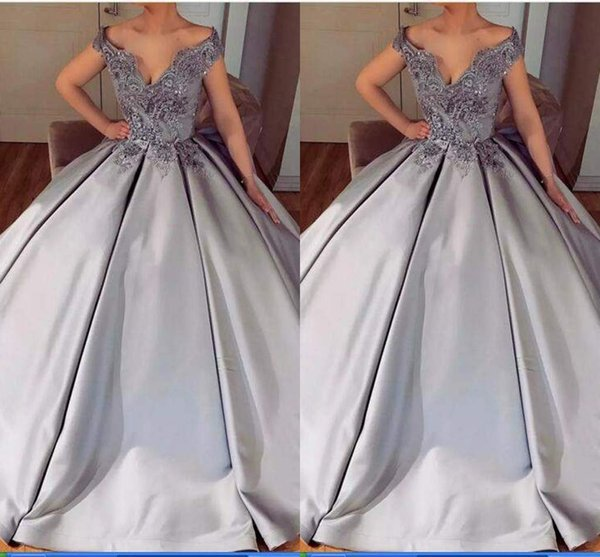 2018 Sexy V-Neck Satin Ball Gown Prom Dresses Bead Lace Appliques Off-Shoulder Short Sleeve Special Occasion Dress Custom Made Evening Dress