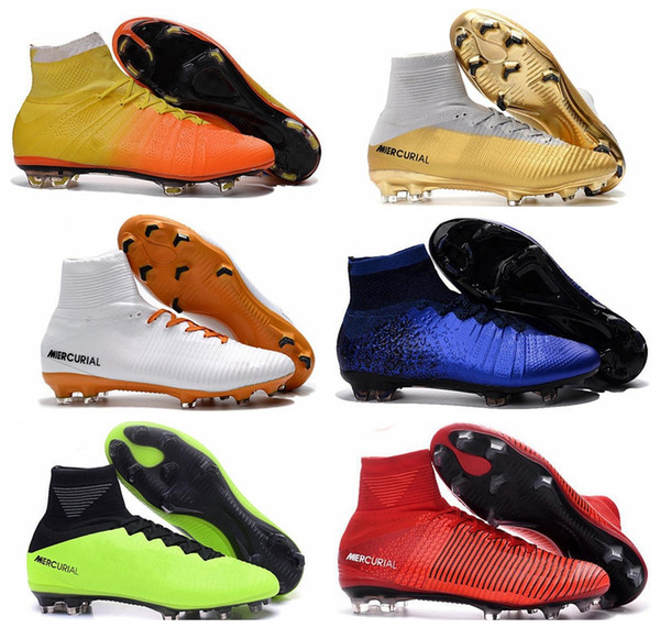 2018 Mens Mercurial Superfly CR7 V FG AG Football Boots Cristiano Ronaldo High Tops Neymar JR ACC Soccer Shoes Magista Obra Soccer Cleats