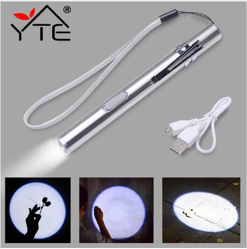 YTE USB Rechargeable portable led lanterns LED Flashlight High-quality Powerful Mini LEDs Torch XML Design Pen Hanging With Metal Clip