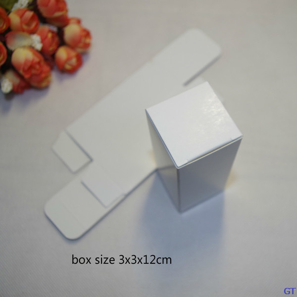 100x size: 3x3x12cm White paper 20ml oil Bottle packing Boxes DIY Lipstick Perfume comestics packaging/storage case 350gsm