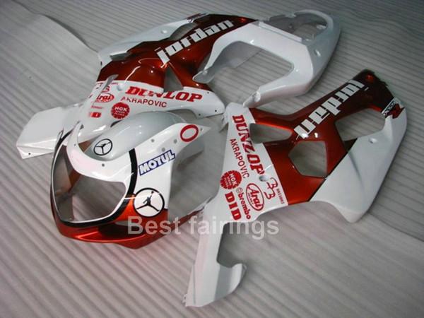 Kit de carenado personalizado gratis para SUZUKI GSXR600 GSXR750 2001 2002 2003 blanco rojo GSXR 600 750 01 02 03 carenados QQ25