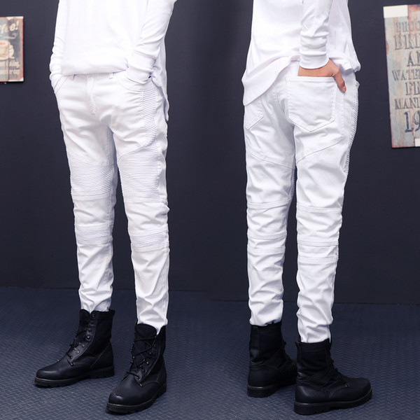 Biker Jeans Men Skinny Pleated Straight Washed Solid Color Casual Men Denim Jeans Retro Distressed Male Fashion Cowboy