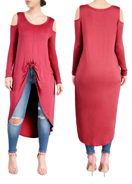 2018 Mulheres Moda Sólida O Pescoço Manga Longa Drapeado Vestidos Casuais Outono Inverno Emagrecimento Moda solto Mid-Calf Vestido