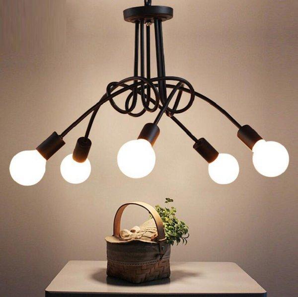 Vintage Ceiling Lights Modern Light Fixtures LED Lamps Home Lighting Metal Lampshade Industrial Edison E27 Holder 3/5 Heads Lamp