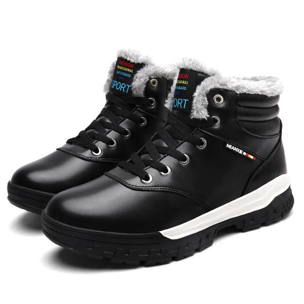 2018 Bottines pour Hommes De Luxe En Cuir Véritable Chaussures De Randonnée D'hiver En Peluche Bottes De Neige Chaude Imperméable À La Marche Chaussures Grande Taille 39-46 Q-439