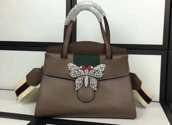 AAAAA Quality 505342 Brown Totem Medium Top Handle Totes Bag,Metal crystals Butterfly,Jacquard stripe nylon strap,Dust Bag,Free Shipping