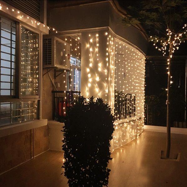 Luzes de cortina 1280 Lâmpadas LED 8m * 5m, luz impermeável do ornamento do Natal, luzes de flash coloridas do casamento da fada iluminação conduzida das tiras de tira