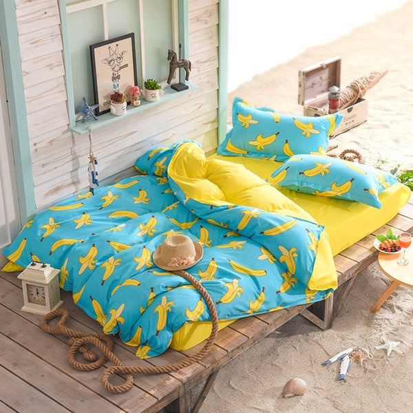 Cartoon Banana Bedding Sets For Kids Children Single Double Bed Twin Queen Size Duvet Cover Sets XF342-4
