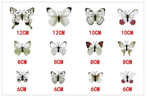 Environmental 3D Fashion Beautiful Full Color Removable Butterfly Wall Stickers 12PCS/Lot for Fridge Living Room Home Decoration