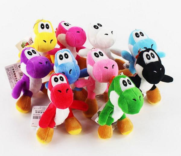 Wholesale 50PCS/LOT 10CM Mini Lovely Super Mario Bros Yoshi Dinosaur Dragon Colorful Plush Stuffed Doll Toy Pendant Cartoon Pendant