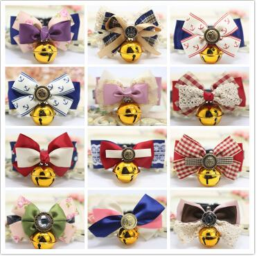 Adjustable Pet Dog Cat Bow Tie Cute Dog Bow Necktie Bell Collar Dog Neck Accessories Lovely Cat Apparel
