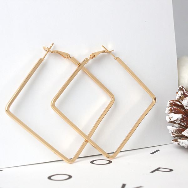 best selling Hot Metal Square Hoop Earrings For Women Fashion Women Designer Jewelry Boho Geometric Simple Earrings Pendientes 5CM wholesales