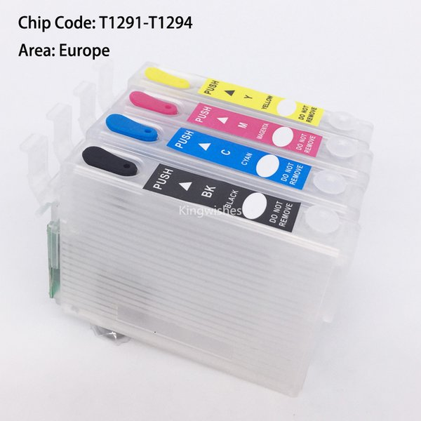 T1291-4 Empty Refillable Cartridge With Chip For Epson SX420W SX425W SX525WD SX620FW SX445 SX235W SX435W SX230 SX440W SX535WD
