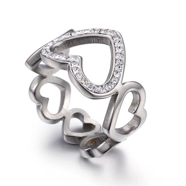 Hot Sale Trend Fashion Love Heart Rings Titanium Stainless Steel Valentine's Ring High Quality Mix Size Cheap Wholesale