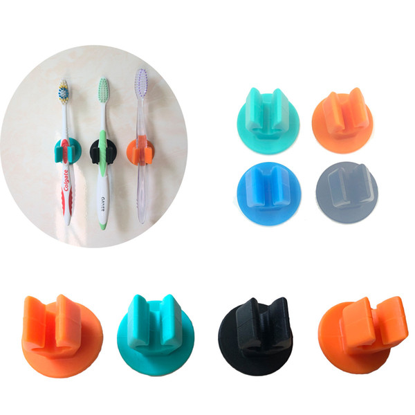 best selling Silicone Toothbrush Holder with 3M Adhesive Sticker Mini Wall Mount Rack Strong Stick Holders Home Bathroom Gadgets