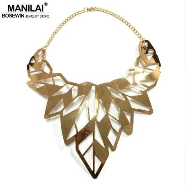 MANILAI Hollow Design Alloy Punk Choker Necklaces Women Collar Big Torques Statement Necklaces Maxi Jewelry Gold Color