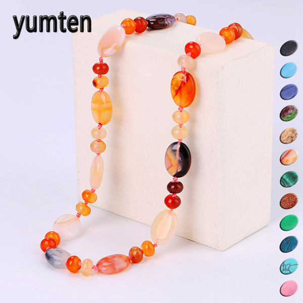 Yumten Star Vintage Women Necklace Set Crystal Power Natural Stone Chain Charm Gemstone Reiki Healing Men Statement Fine Jewelry