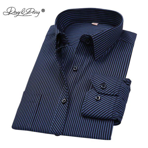 DAVYDAISY Sıcak Satış Pamuk Erkekler Gömlek Uzun Kollu Çizgili Katı Ekose Erkek Iş Gömlek Marka Giyim Resmi Gömlek Adam DS022