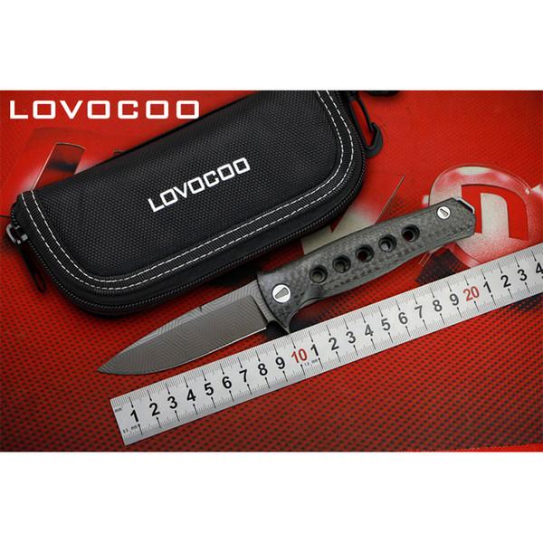 LOVOCOO Dr Death Mayo подшипник Складной Нож D2 Лезвие Титана Углеродного Волокна ручка Кемпинг Охотничьи Ножи Открытый EDC Инструменты