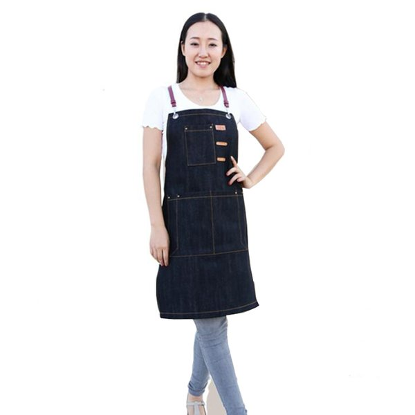 Korean fashion kitchen cowboy aprons cooking coffee shop nail painting men and women overalls