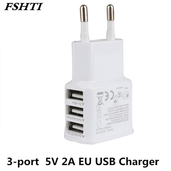 10pcs/lot For iPhone 6 5S 5 4S for Samsung Galaxy S5 S6 S7 3-port USB Power Adapter 5V 2A EU Multi USB Charger Device Plug
