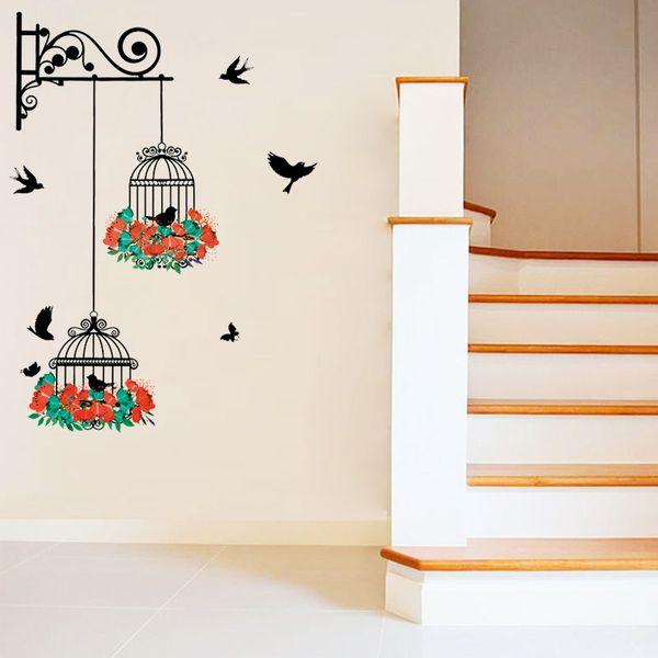 Flower birdcage wall sticker decal flying birds plants butterfly Vinyl Wall Decals living room bedroom nursery window decor