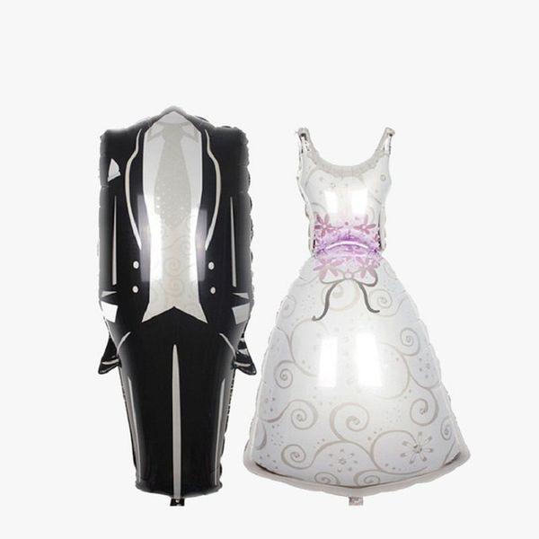 1 pc WholeSale Dropshipping MOONBIFFY Noiva e Noivo Vestidos De Noiva Alumínio Balões Crianças Brinquedos Festa de Casamento