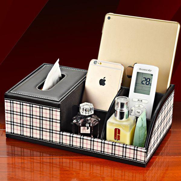 Grid leather Multifunction Tissue Box Desktop Desk Make UP Organizers iphone remote control holder cosmetics storage case