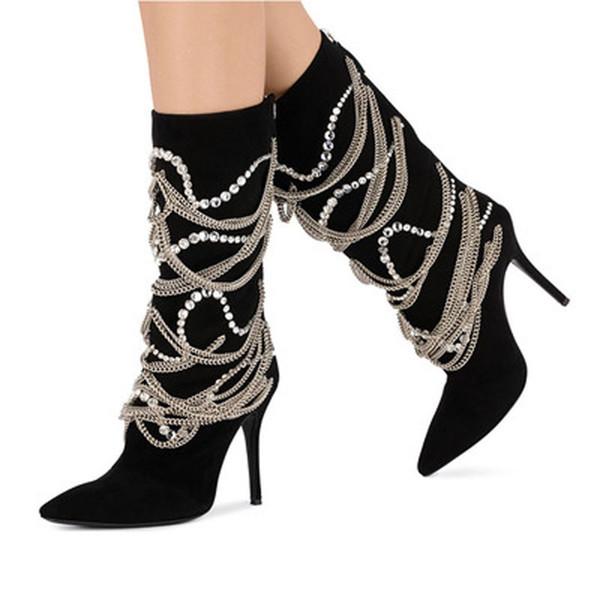 Neue Bling Crystal Metallketten verschönert mittlere Wade Stiefel Stiletto High Heel Zurück Reißverschluss Schuhe Frauen Schwarz Wildleder Spitz Botas