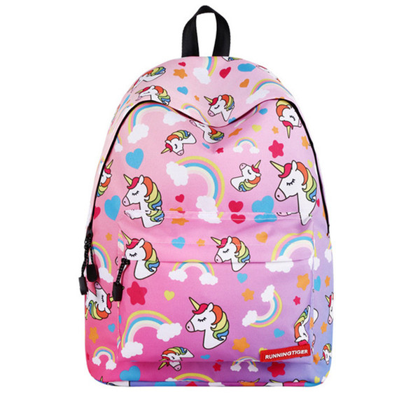 Pink Unicorn School Student Travel Bags Large Storage Space Book Fantasy Comfortable Backpack Rucksack With Adjustable Strap